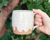White Ceramic Cloud Mug, handmade mug ceramic coffee cup, white mug, speckled mug cloud pattern featured on Etsy Blog