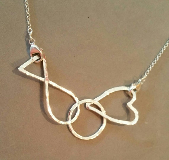 jesus fish circle necklace silver connected