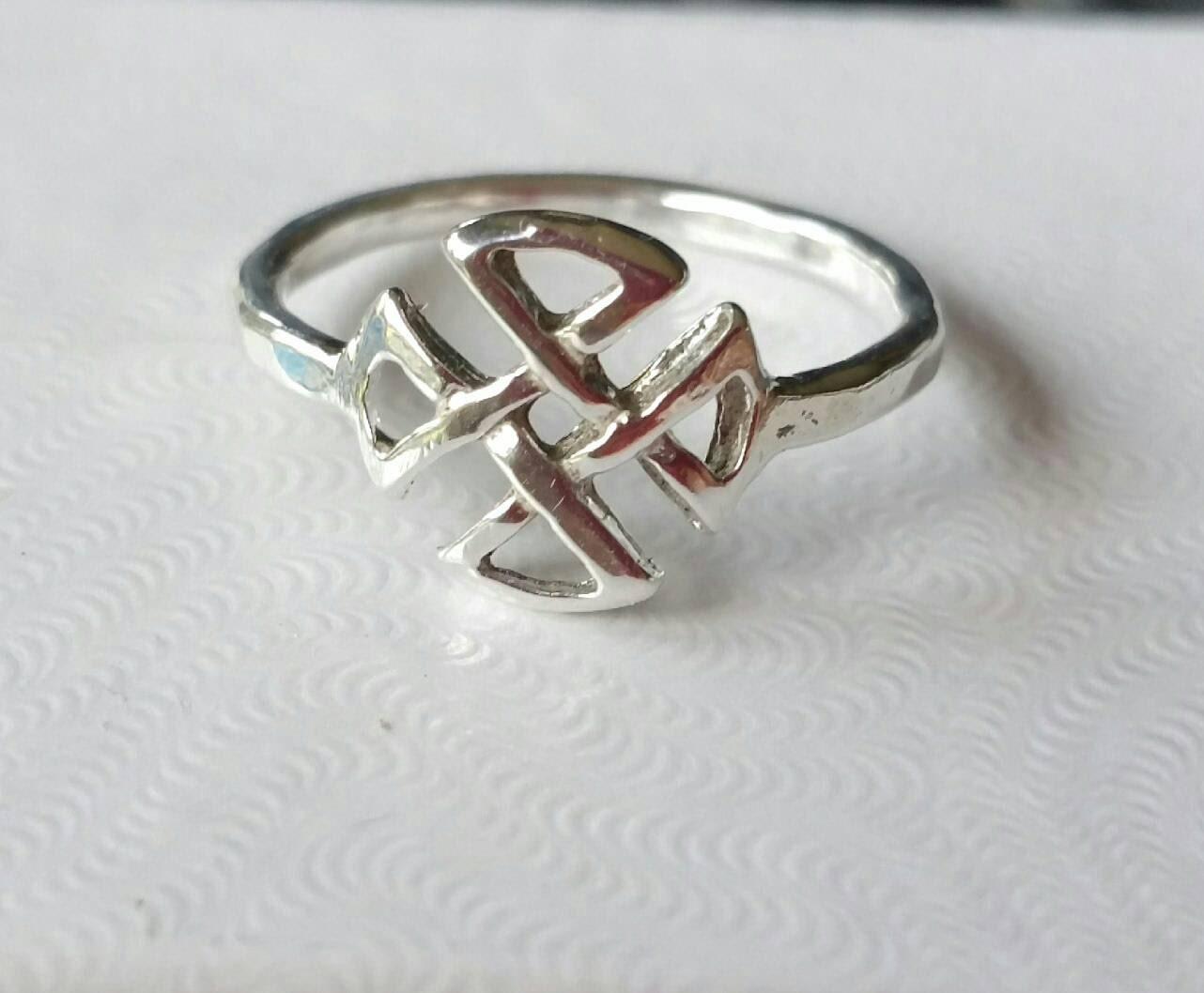 celtic ring sterling silver knot ring celtic cross ring
