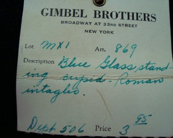 40's Gimbel Brothers Blue Glass Intaglio
