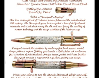 Antique Brass / Antique Copper - Steampunk Bolt Action Pen - White Circuit Board