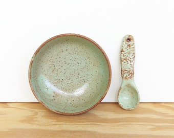 Salt Cellar and Handmade Ceramic Spoon Set in Pistachio Shino Glaze