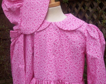 Girls Pioneer Costume/Bonnet ..Laura's Little House dress..SPECIAL ORDER only