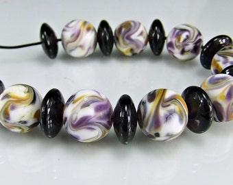 Lampwork Beads Etched  Purple White Yellow Round Organic Lampwork Beads Set SRA Glass Bea