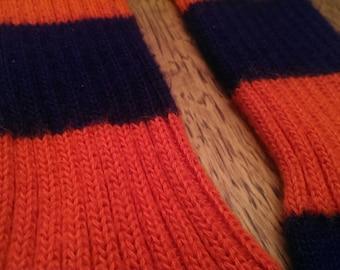 Vintage 1970s Blue and Orange Striped Tube Socks