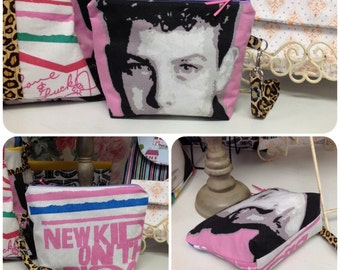 NKOTB New Kids On The Block Wristlet Cosmetic Bag Purse Cheetah Print W Lanyard Custom Order