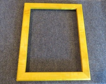 11x14  Curly Maple with Lemon Yellow Dye Picture Frame - Made in Maine - Real Wood Frame