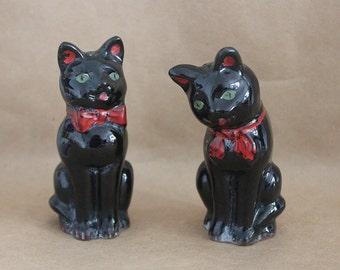 Vintage Black Cat Salt + Pepper Shakers