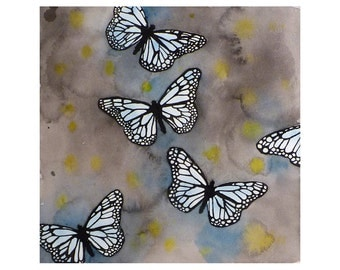 Butterfly Art  Watercolor Painting Print Monarch Butterflies Insect animal painting Gray painting Grey and Blue art watercolor print  12x12