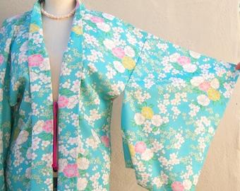 Vintage SILK kimono / Lotus + Cherry Blossoms / aqua blue pink floral / jacquard silk lining / layered, handmade, short, small medium
