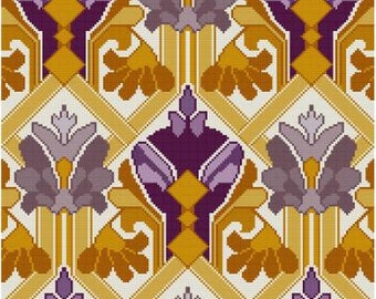 Cascade Purple and Yellow Floral cross stitch pattern pdf antique wallpaper adaptation