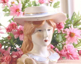Original Vintage Lady Head Vase Ceramic Wide Brim Hat Brown Hair