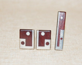Vintage Taxco Sterling Cufflinks and Tie Clip Signed Inlaid Wood and Sterling Dots 1950s Modernist Gift Idea
