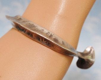 Vintage Modernist Bracelet Norway Eivind Hillestad Pewter Biomorphic Bangle Rare Brutalist