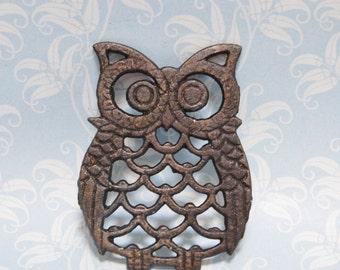 Vintage Owl Trivet 1950s Iron Mid Century Kitchen Hot Pad
