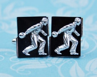 Vintage Figural Bowler Cufflinks Silver SWANK  Bowling Sports Men's Gift 1960s