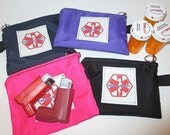 Medical alert zipper pack cloth pouch size small cordura weather proof fabric great for inhalers small medications -- options + color choice
