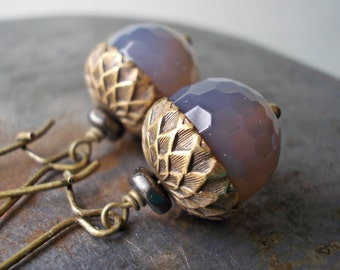 Gemstone acorn earrings, natural grey gray agate, antiqued brass, long kidney ear wires, nature woodland, squirrel nuts, oak tree seed stone