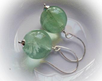 Huge natural fluorite earrings chunky crystal earrings handmade jewelry aqua blue mint green genuine semi precious stone sterling silver 925