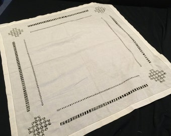 Vintage White Drawnwork Table Topper or Luncheon Tablecloth