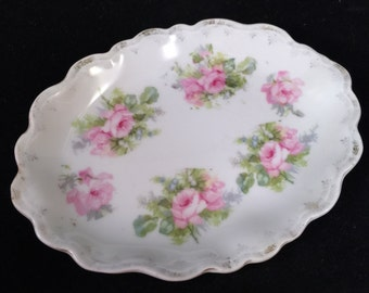 Antique/Vintage Tiny Platter or Pin Tray Dish with Pink Roses and Scalloped Edges
