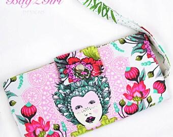 Handmade Long Wallet BiFold -Tula Pink Elizabeth 16th Century Selfie