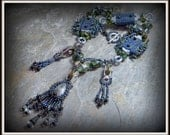 SALE Industrial Steampunk - Seed Beaded Statement Necklace by Hannah Rosner