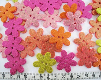 16pcs of  Glittering Flower  Button 30mm Pink Orange Yellow