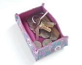 tiny valet catchall trinket tray. business or playing card holder. small fabric jewelry box. change keys laundry money box