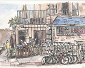 Hamel's in Mission Beach (Mission Beach Surf and Skate) original watercolor 5 x 7 Signed