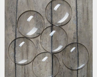 30mm Premium Domed Glass Circles- SET OF 25- Perfect for making pendants, decorative magnets, key chains, etc