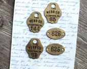 Vintage Brass Number Tags Jewelry Collage Industrial Salvage