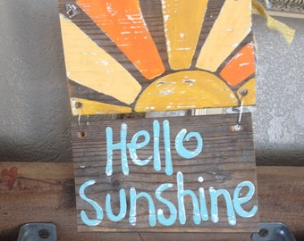 NEW Design Hello Sunshine Summer Vintage inspired Sign Blue Aqua Gray  Wood with Shells RUSTIC and Primitive Beach Surfer Reclaimed