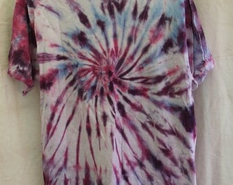 Tie Dye Shirt - Large Adult -  Crew Neck - Short Sleeve -Pink, Purple and Dark Blue - 100% Cotton