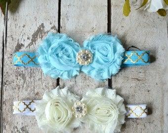 You Pick Aqua White  Luxe Headband, Toddler  headband, Girls headband, Flower girl headband, Wedding headpiece Rhinestone Pearls