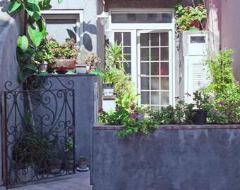 Isle of Capri, Italy Photography, Landscape Print,  Patio Flowers Photo, Window Photo, Fine Art Photograph, Italian Decor, Green And Blue