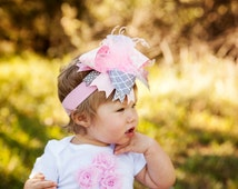 PINK and GRAY over the top baby headband. baby accessory. baby girl bow.  big bow baby. made to match bow.  birthday party bow. sparkle bow.