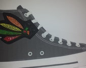 BkackHawks inspired feather shoe wings pair (finished item)