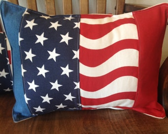 """Americana 4th of July Stars and Stripes pieced pillow 12"""" X 16"""" red white and blue patriotic"""