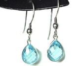 Blue topaz sterling silver french hook dangle earrings