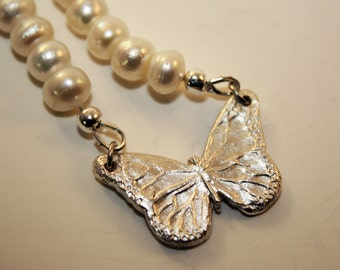 Precious metal clay butterfly w/freshwater pearls