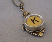 Typewriter Key Necklace  Butterscotch Letter K  Antiqued brass setting Initial Necklace K