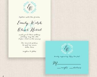 CALLIGRAPHY WREATH - DIY Printable Wedding Set - Invitation and Reply Card