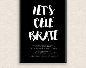BLACK & BOLD - DIY Printable - Birthday Party Invitation