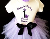 Princess crown Lavender Purple Skull Rock N Roll 1st First Girl Birthday Tutu Outfit Personalized Custom Name Age Party Shirt Set