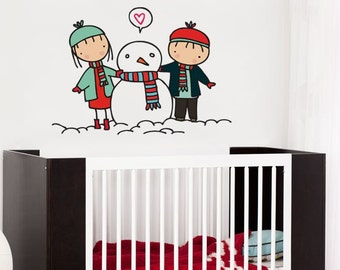 Snowman love - Wall Decals - Wall Stickers