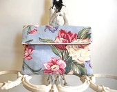Floral clutch foldover, iPad case, large utility pouch - 1930s roses bouquet - eco vintage fabrics LAST ONE