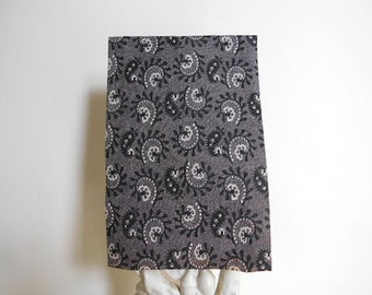 Charcoal paisley pocket square, selvedge handkerchief, blck grey - eco vintage fabric in the 19th c. manner