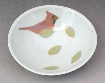 Porcelain Bowl with Inlay of Cardinal and Leaves--2 of 3