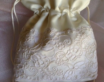 WEDDING BRIDAL Ivory Drawstring Bag w/ Ivory Double Lace